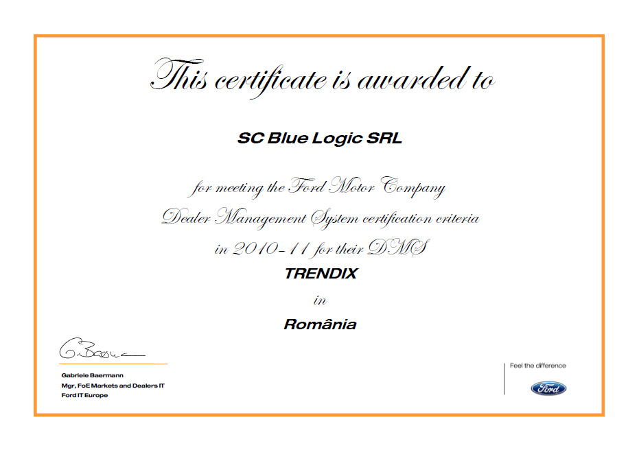Program certificat FORD